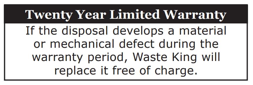 Waste King L-8000 warranty card