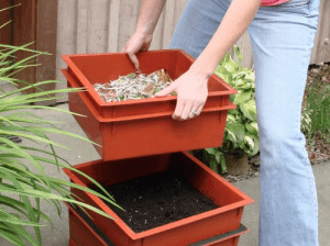 Example of a tray system worm compost bin design